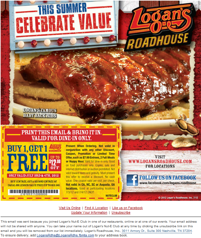 picture relating to Texas Roadhouse Printable Coupons titled Logans roadhouse printable discount coupons - Historynet coupon code