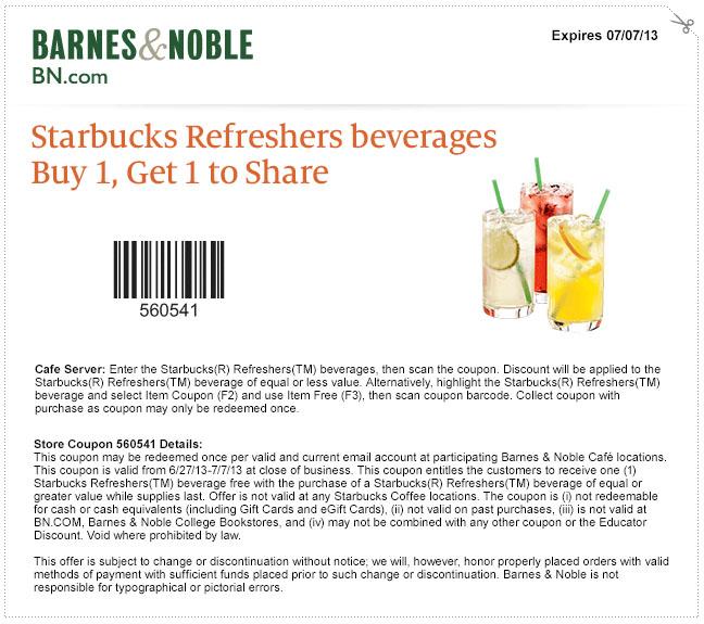 Barnes And Noble Bogo Free Starbucks Refreshers Printable