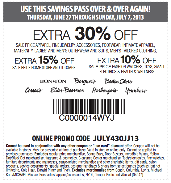 photograph relating to Elderbeerman Printable Coupons titled Younkers on the internet discount codes - On the net Retail store Promotions