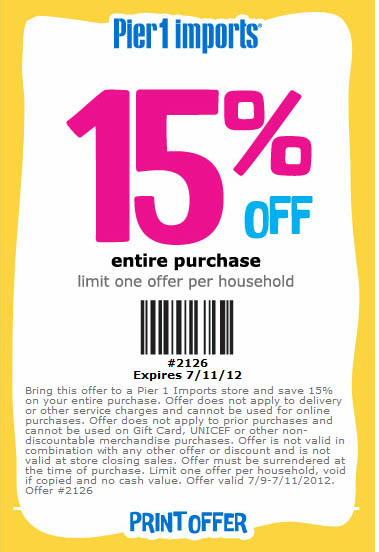 Pier one imports coupons