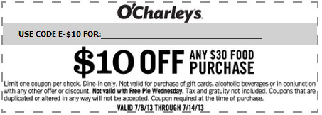 O charley's discount coupons