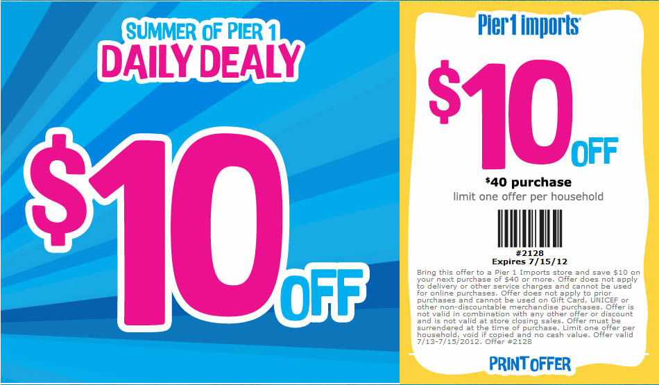 Pier 1 Imports: $10 off $40 Printable Coupon
