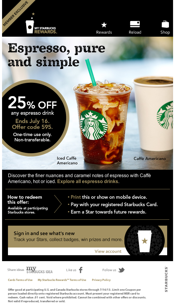 Starbucks: 25% off Espresso Drink Printable Coupon
