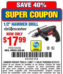 harbor freight hammer drill. harbor freight tools 17 99 hammer drill printable coupon e