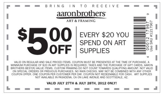 Coupon aaron brothers art - Ocharleys coupon nov 2018