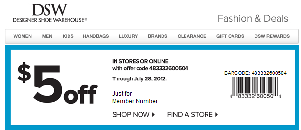 Dsw coupons codes