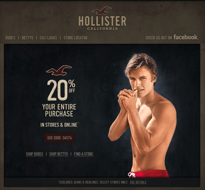 Hollister: 20% off Printable Coupon