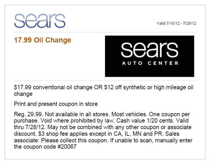 Sears auto coupons oil change 2018
