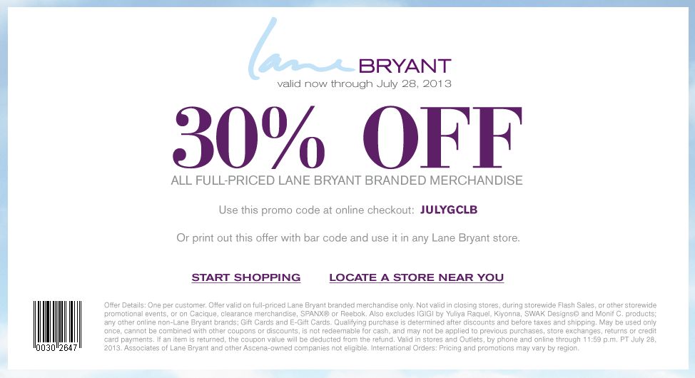 Browse for Lane Bryant coupons valid through December below. Find the latest Lane Bryant coupon codes, online promotional codes, and the overall best coupons posted by our team of experts to save you 40% off at Lane Bryant.