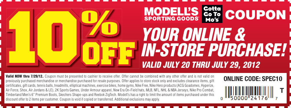 Modell's Sporting Goods offers great prices on sports apparel, equipment, footwear, and more! Check out their sales online or at one of their retail locations. Along with accepting competitor coupons in-store, you can redeem coupon codes online, and sign up for the Modell's MVP Rewards Program for extra savings%(50).