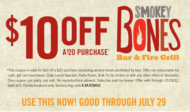 Smokey bones coupon code