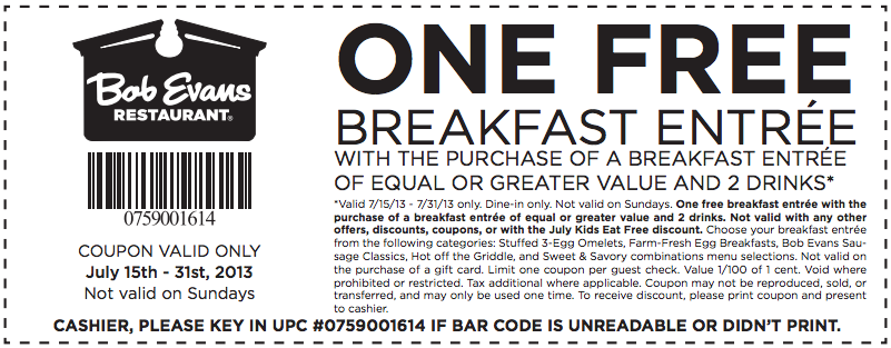 picture regarding Bob Evans Coupons Printable referred to as Bob evans breakfast coupon - Meadowlands secaucus