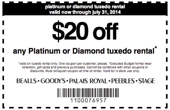 picture about Palais Royal Printable Coupon identified as Goodys: $20 off Tuxedo Condominium Printable Coupon