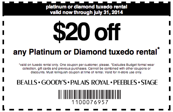 photograph regarding Peebles Coupons Printable referred to as Peebles: $20 off Tuxedo Condominium Printable Coupon