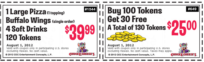 Chuck E Cheese: 2 Printable Coupons