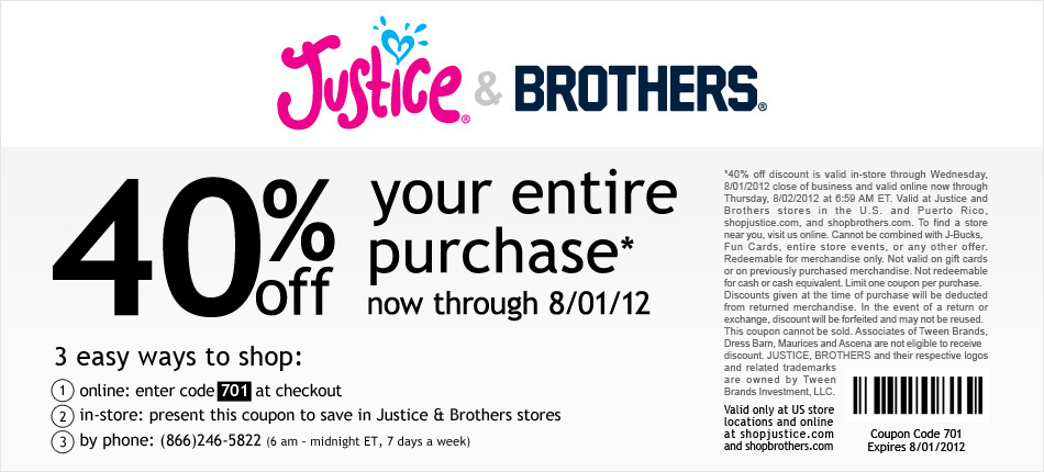 Coupon code for justice