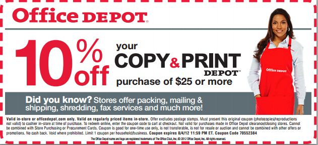 Office depot 10 off copy print printable coupon - Office depot business coupons ...