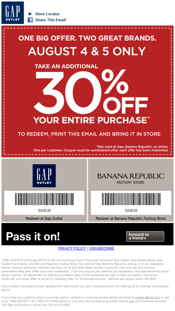 Gap outlet discount coupon