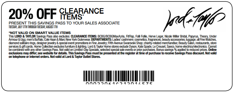 taylor 20 % off clearance printable coupon see all lord taylor coupons