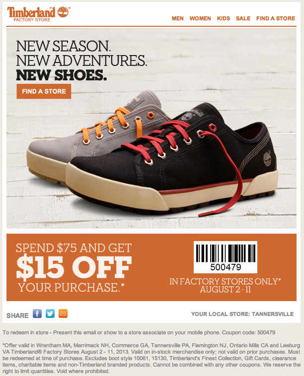 Timberland coupons may 2018