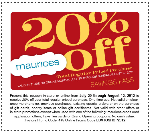 image relating to Maurice Printable Coupons named Maurices Coupon 2016 Coupon codes Databases 2017