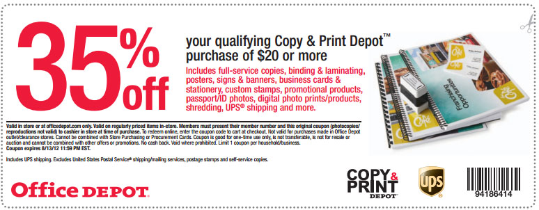 Office depot 35 off copy print printable coupon - Office depot discount code ...