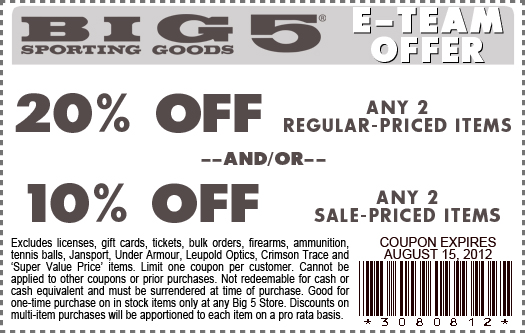photo regarding Big 5 Sporting Goods Printable Coupon identify Huge 5 athletics printable discount codes - Samurai blue coupon