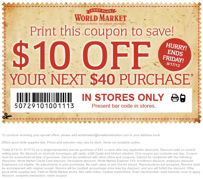 Cost Plus World Market Rewards Program: When you sign up to be a World Market Rewards Member, you'll receive discount notifications via email on specially selected items, the latest coupons and special offers and will get member pricing on items throughout your World Market store.