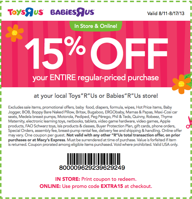 image regarding Baby R Us Coupons Printable named Infants R Us: 15% off Printable Coupon
