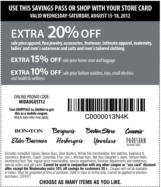 picture relating to Bon Ton Printable Coupon named Carsons printable coupon codes september 2018 - Noahs ark coupon codes