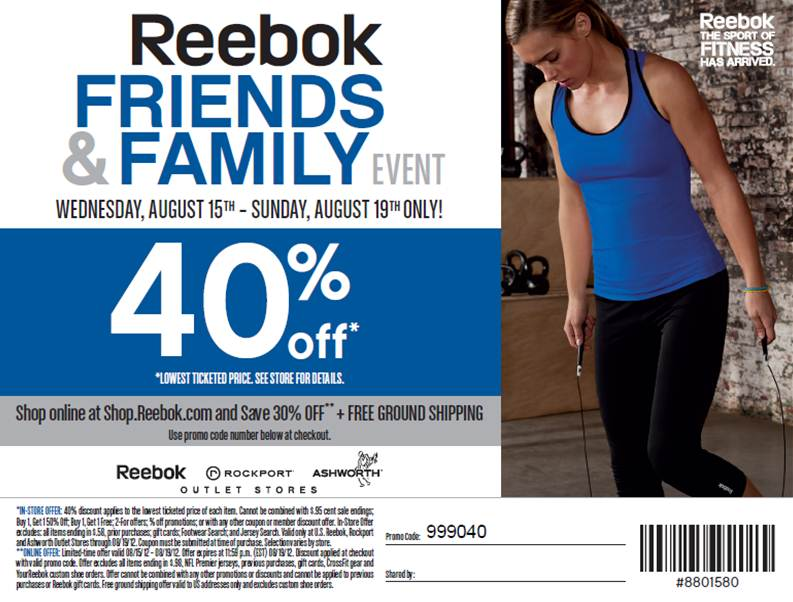 Reebok discount coupons