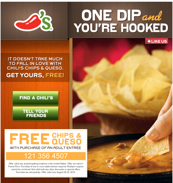 picture about Chili Printable Coupons named Chilis discount codes absolutely free queso and chips : Newark prudential