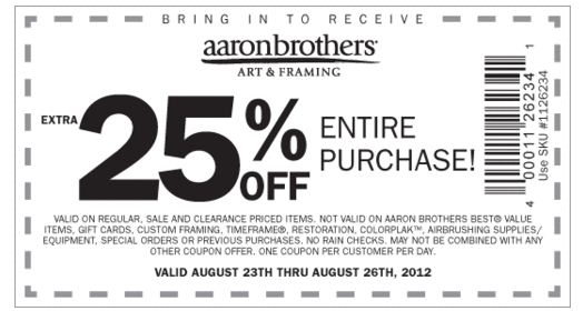 Aaron Brothers Coupons Top Brands & Savings· + Coupons Available· Online Coupon Codes FreeTypes: Specialty Stores, Grocery Stores, Factory Outlets, Retail Chains, Restaurants.