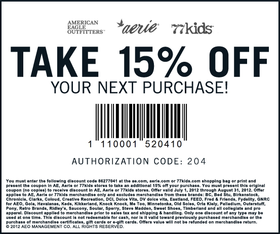 c25f52a14 aerie: 15% off Printable Coupon