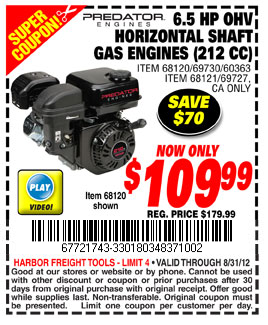 Harbor Freight Tools: $109 99 Gas Engine Printable Coupon