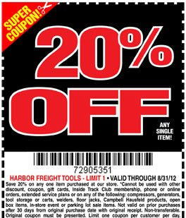 Harbor Freight Coupon 20 Off