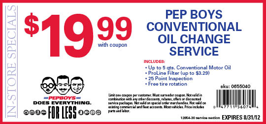 You can fin d printable Walmart oil change coupons. Newspapers (mostly Sunday editions) Feel free to ask for other similar specials like Midas or Jiffy Lube .