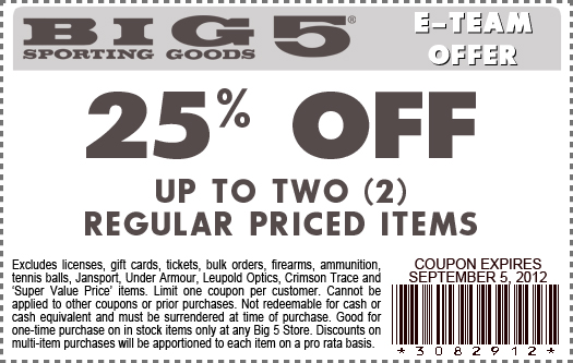 Big 5 sporting store coupon