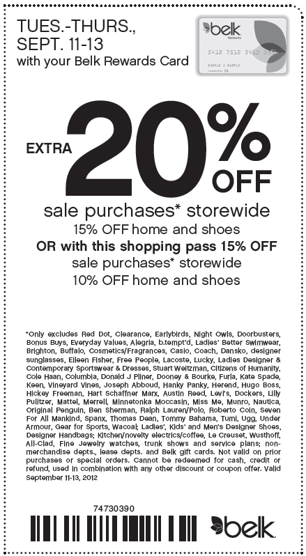 Printable belk coupons 20 off