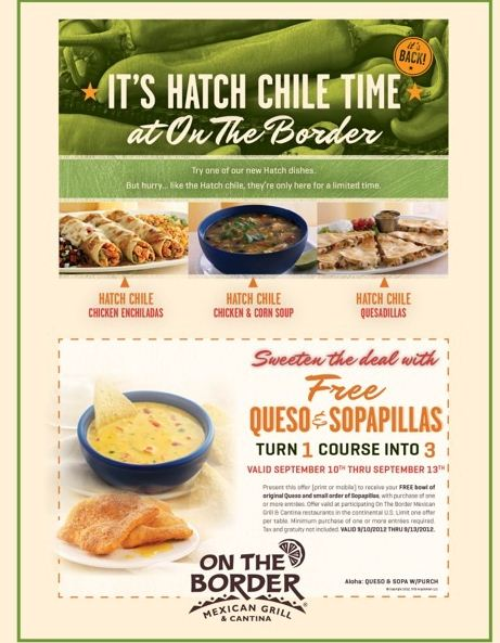 on the border free queso sopapillas printable coupon