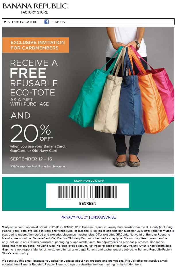 Banana republic factory coupon code