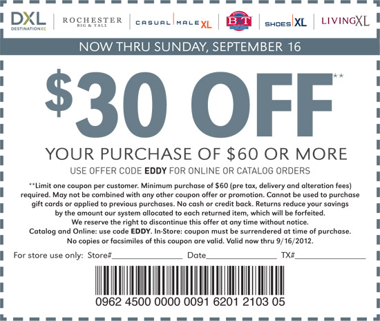 Casual male in store coupons