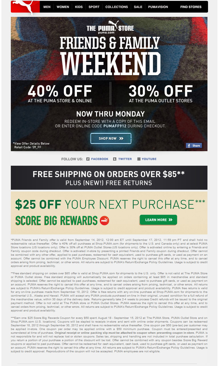 Puma discount coupon code