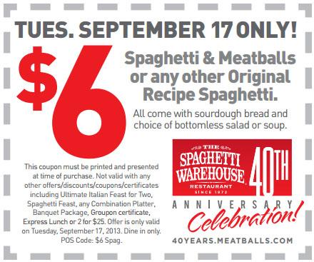 the spaghetti warehouse 6 spaghetti printable coupon