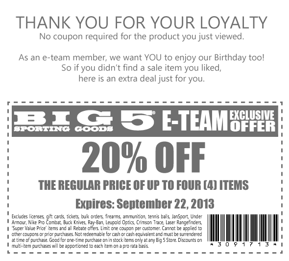 photo about Big 5 Coupon Printable identify Large 5 Carrying Items: 20% off Printable Coupon
