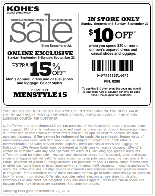 Kohls store coupons 30 off