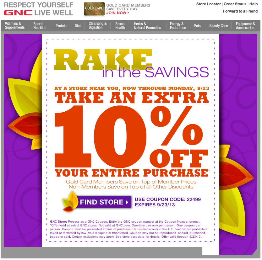 image about Gnc Printable Coupons known as GNC: 10% off Printable Coupon
