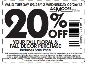 Ac moore 20 off fall decor printable coupon - Coupon code home decorators decor ...