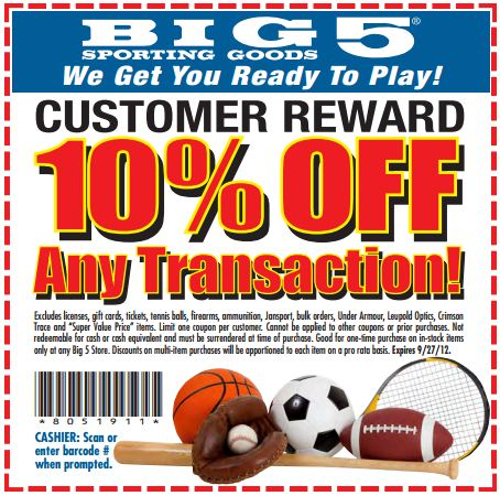 Big five sporting goods coupons
