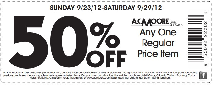 photo relating to Ac Moore Printable Coupon Blogspot titled 55 coupon ac moore / Wcco eating out promotions